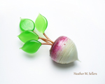 The stem is Toto, the leaves are Wheatgrass, the top of the radish is Dark Velvet with transitional enamels, then the accent dots are also Dark Velvet, the bottom of the radish is Peppermint Cream.